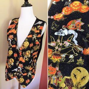 Vintage 90s Halloween pumpkins witches ghost vest